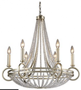 ELK 31014:6, New York Candle 1 Tier Chandelier Lighting