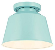 Feiss 1-Light Semi Flush Mount, Hi Gloss Blue