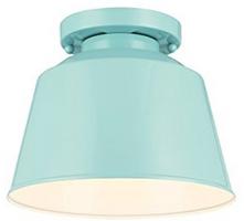 Feiss 1-Light Semi Flush Mount, Hi Gloss Blue