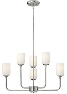 Hinkley 4216PN, Harlow Mini Glass 1 Tier Chandelier